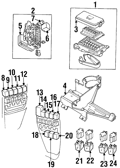 1998 land rover discovery box - fuse  under hood