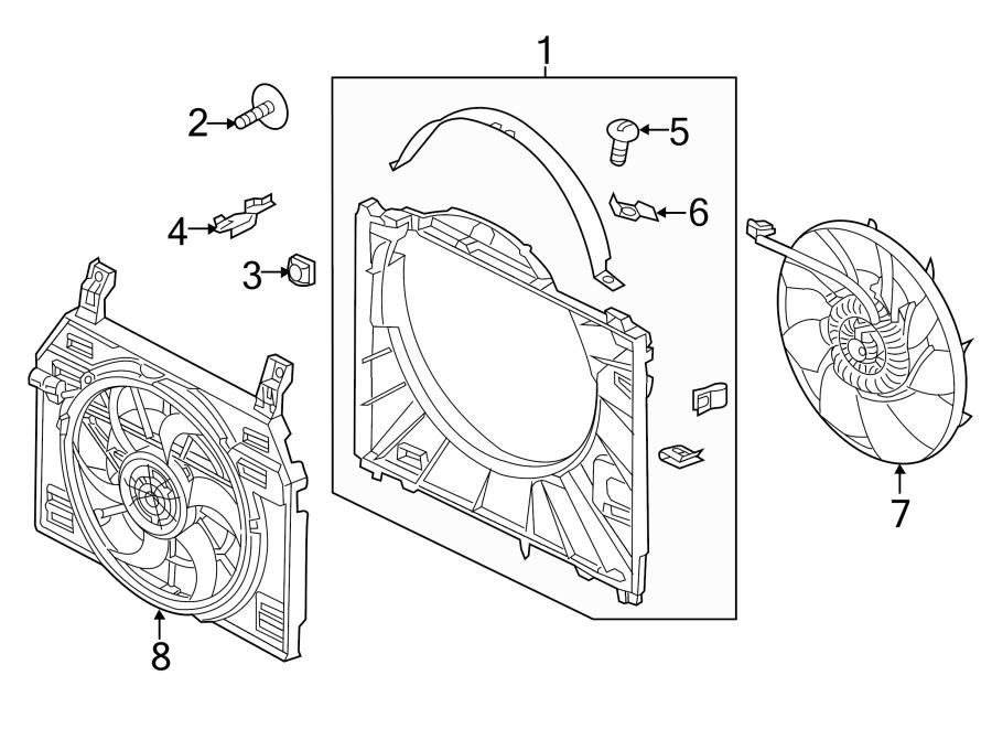 2015 land rover range rover cooling shroud plug  engine cooling fan shroud cap  3 0 liter gas  5