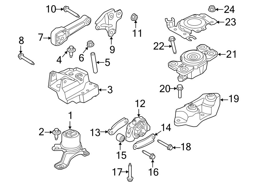 2014 land rover lr2 bolt  strut  mount  engine  2 0 liter