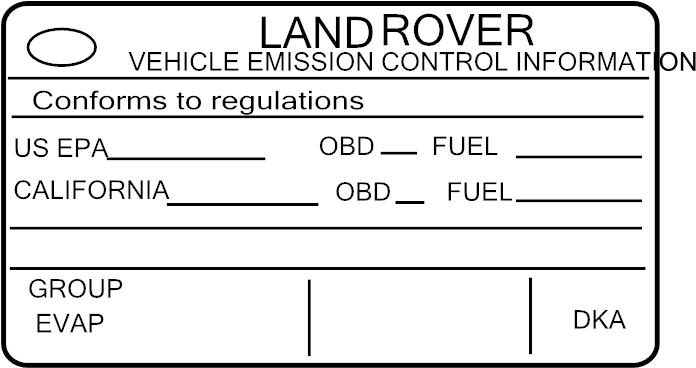 2013 Land Rover Range Rover Emission Label  5 0 Liter W